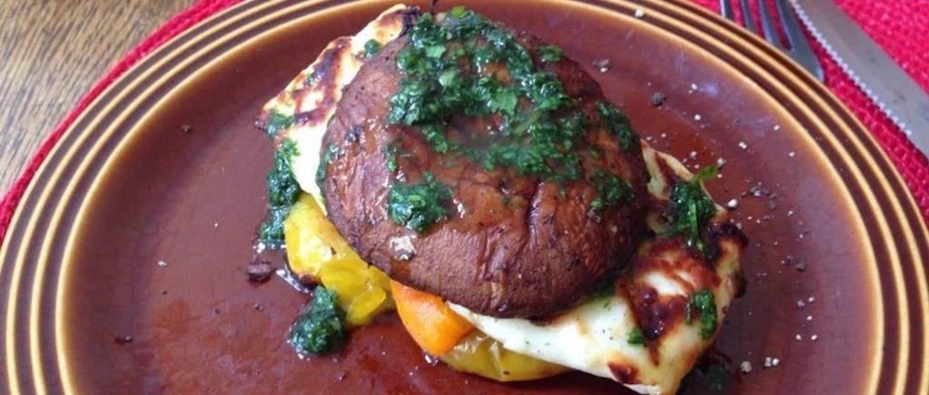 vegetarian bbq - halloumi veggie burger