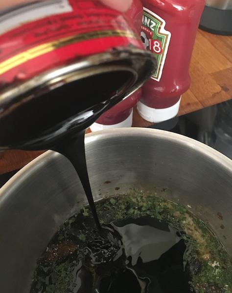 Taste - adjust treacle (sweet and smokey), brown sugar (sweet), cayenne pepper (heat), vinegar (tangy) - as needed.