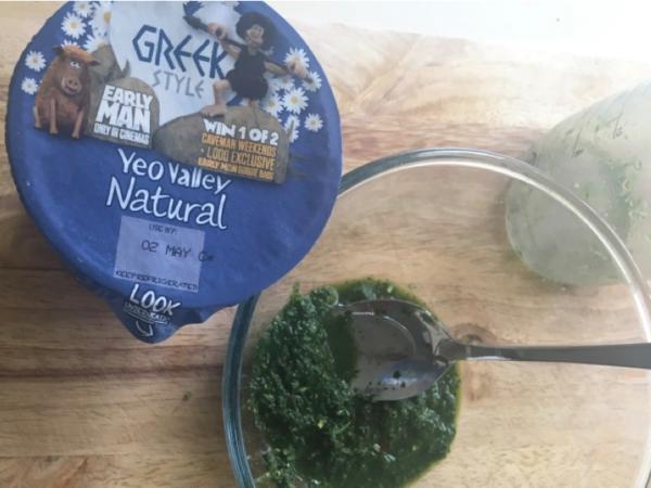 Stir herb mixture into yogurt.