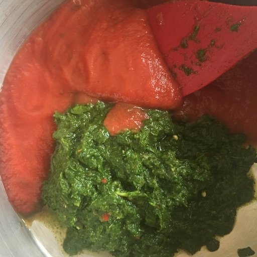 In a small saucepan, over low heat, combine herb paste with passata and water.