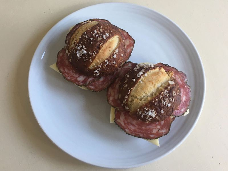 pretzel bread salami sandwich