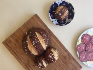 pretzel bread with salami
