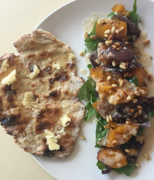 easy bbq flatbreads with salad
