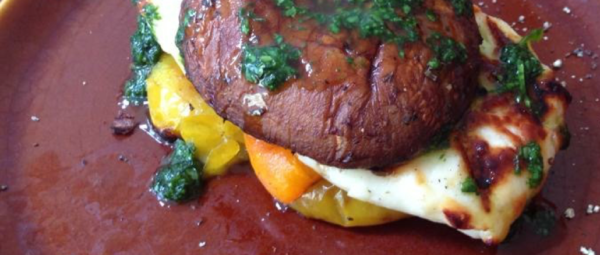 BBQ Mushroom Burger, Halloumi Burger