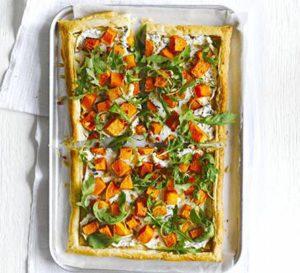 Butternut ricotta tart with fiery rocket salad