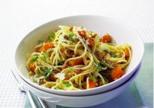 Butternut squash, parmesan and pine nut spaghetti