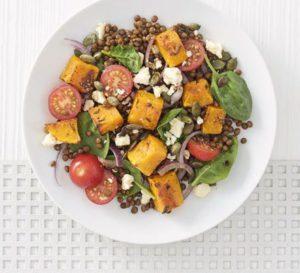 Warm roasted squash and Puy lentil salad