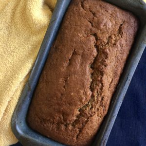 banana bread loaf tin baked
