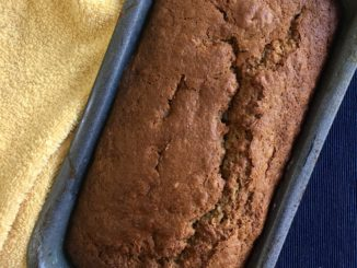 banana bread loaf tin baked